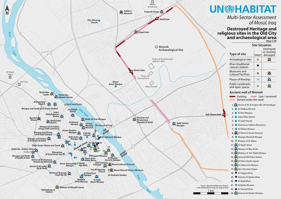 Carte des destructions de Daech dans le centre de Mossol, Irak, Dario Ingiusto, ONU Habitat, 2016