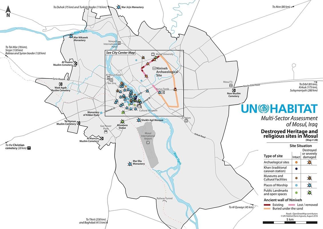 Carte des destructions de Mossoul, cadrage large, ONU habitat et Dario Ingiusto