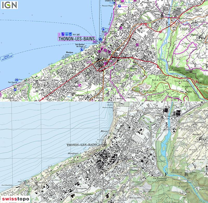 Jérémie Ory — comparaison carte IGN et Swisstopo