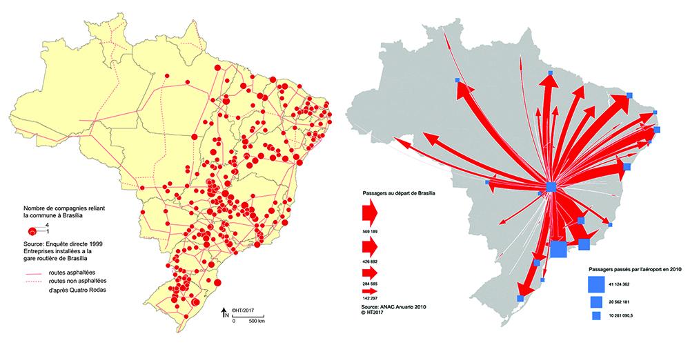 Hervé Théry — cartographie carte bus et liaisons aériennes