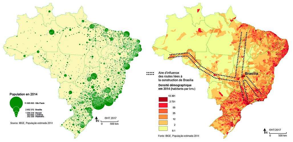 Hervé Théry — démographie brésil peuplement carte
