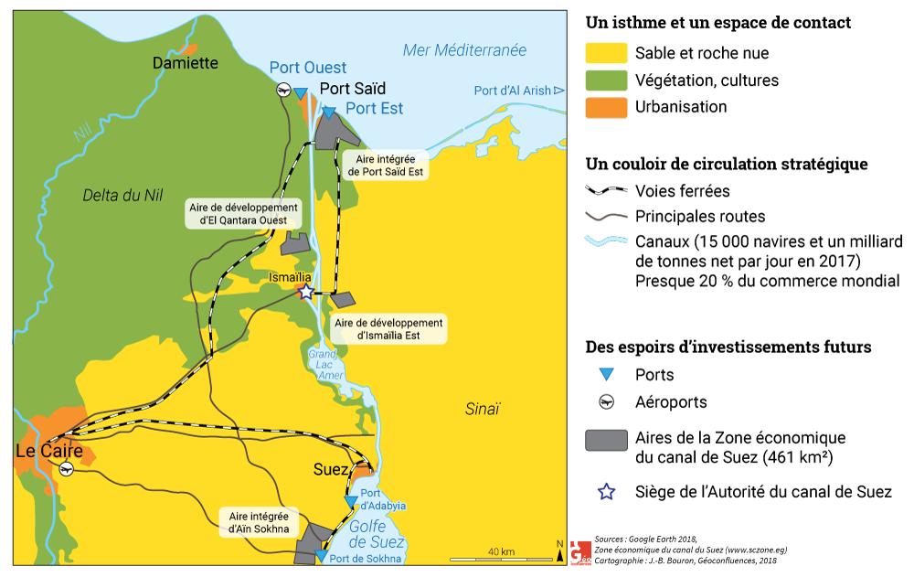 Carte croquis Canal de Suez : zone franche et infrastructures