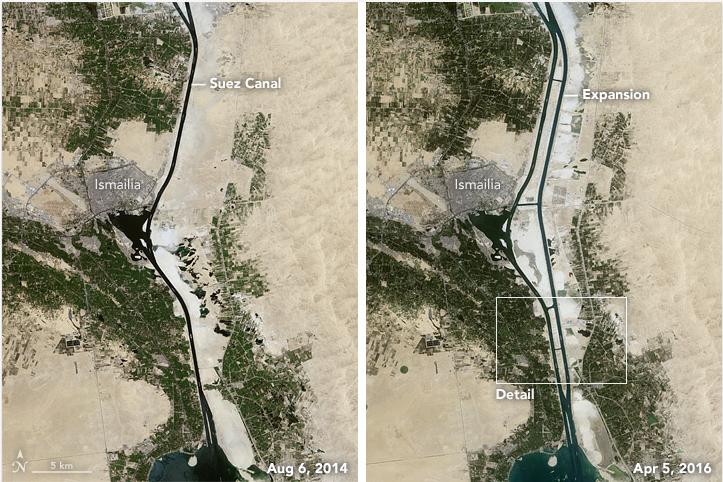 NASA — image aérienne nouveau canal de Suez