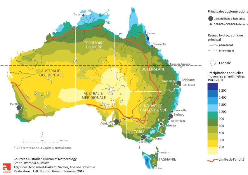 carte : pluviométrie, aridité, hydrographie, et villes de l'Australie