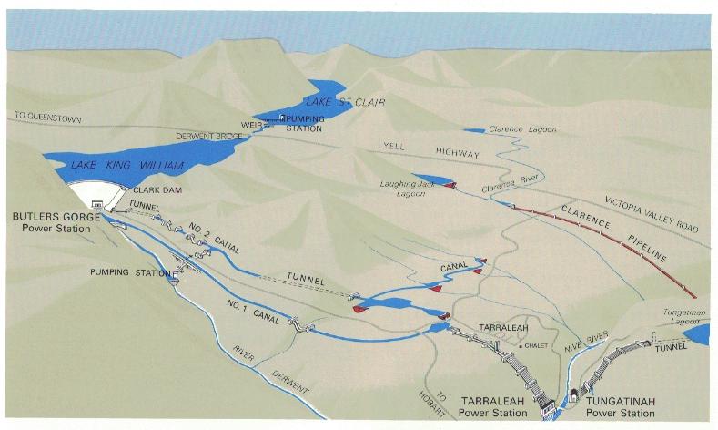 Le réseau de tunnels et de canaux qui viennent alimenter la centrale hydro-électrique de Tarraleah