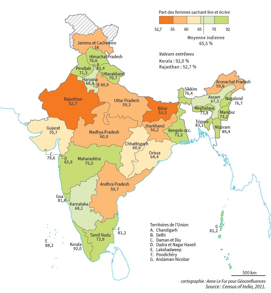 carte taux d'alphabetisation des femmes en Inde par Etat