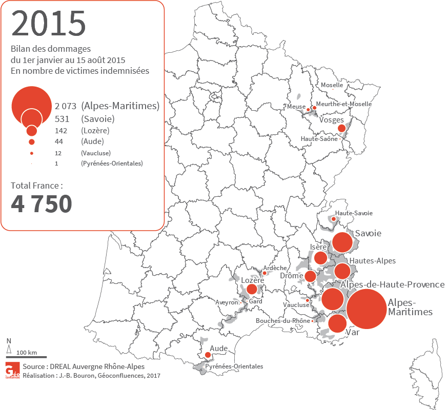 Carte bilan des dommages 2015 loups