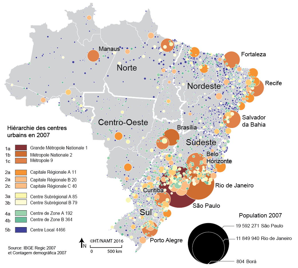 Carte des villes et hiérarchies urbaines au Brésil