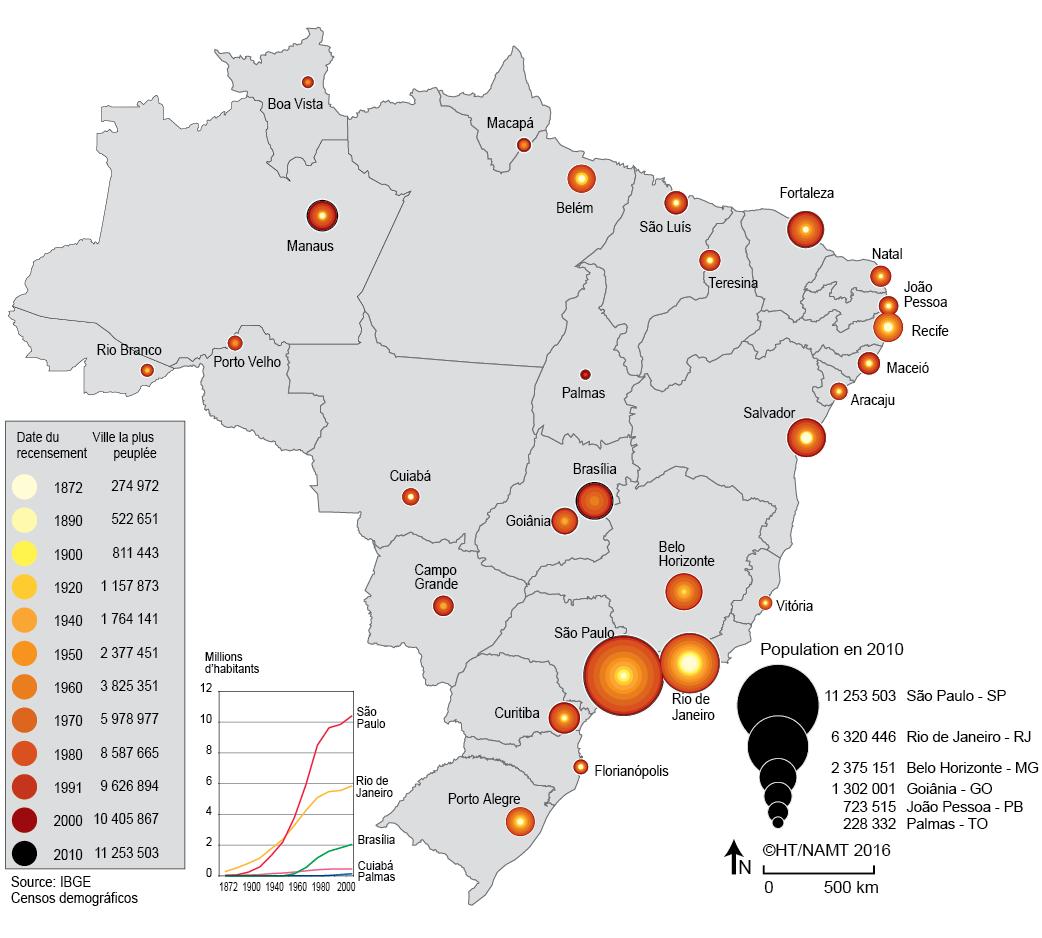 carte de la croissance des villes au Brésil 19e 20e siècle