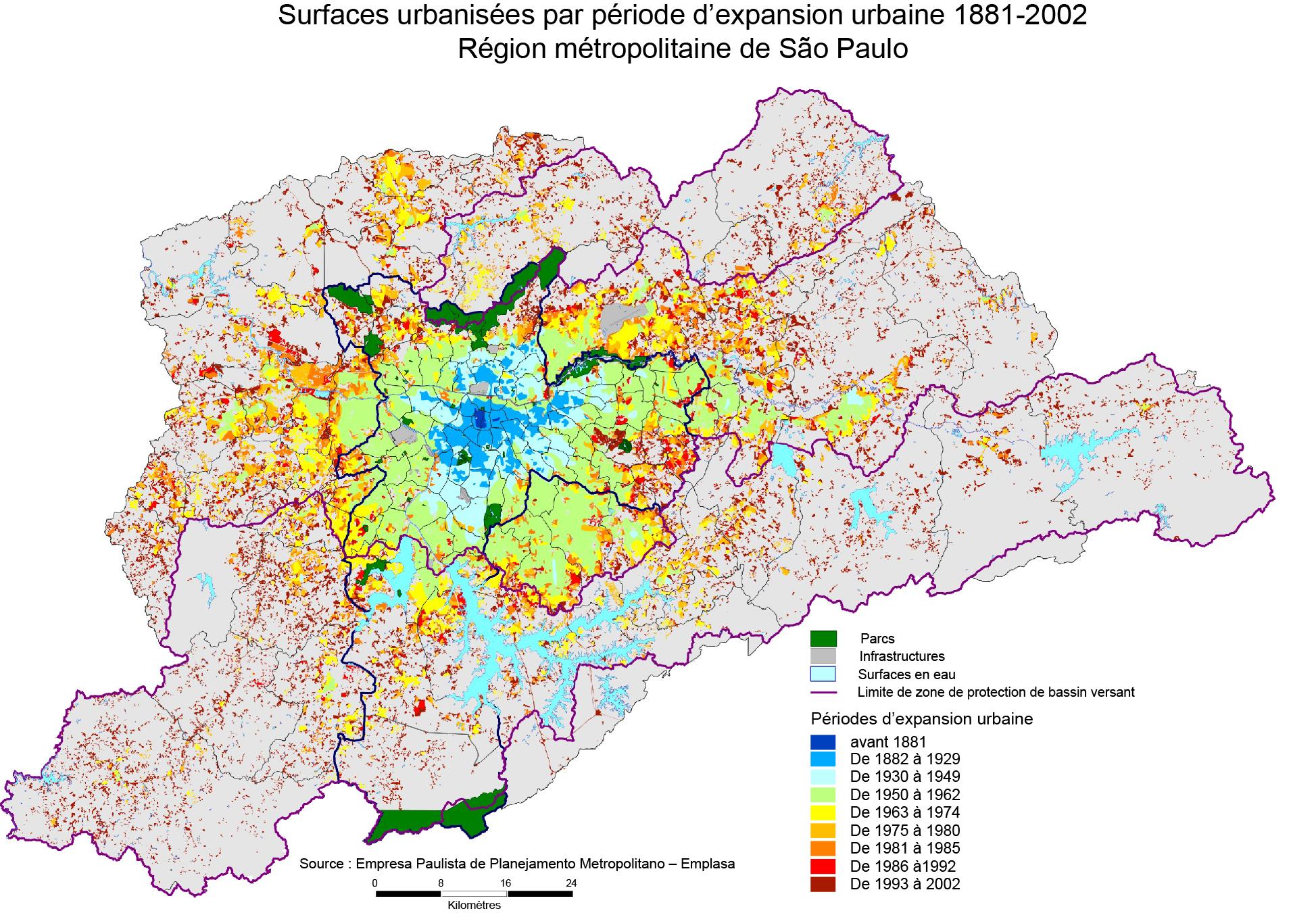 Carte de l'expansion urbaine de São Paulo étalement urbain