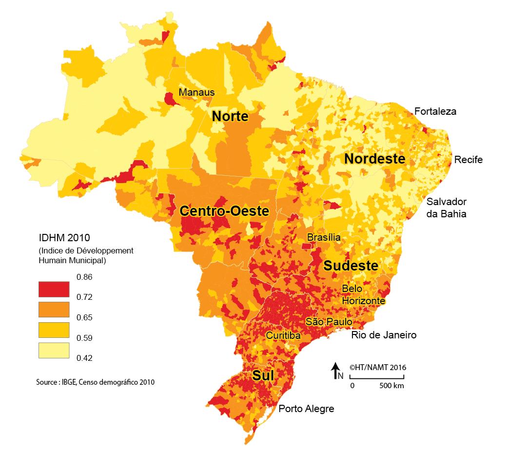 carte IDH par commune au Brésil