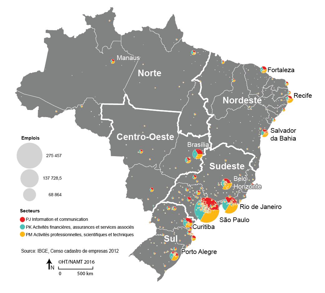 Carte Emploi par secteur au Brésil