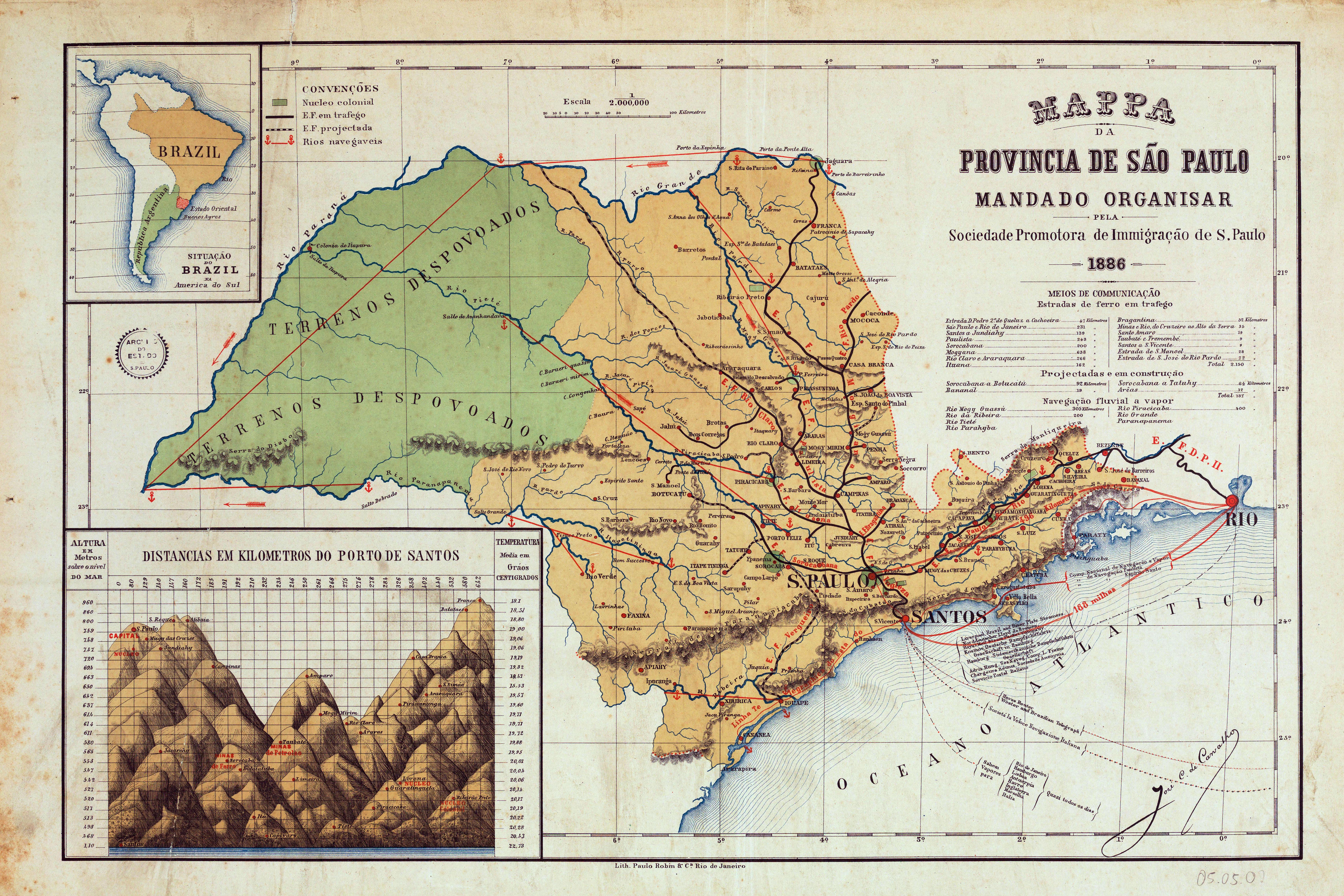 Carte ancienne province de Sao Paulo