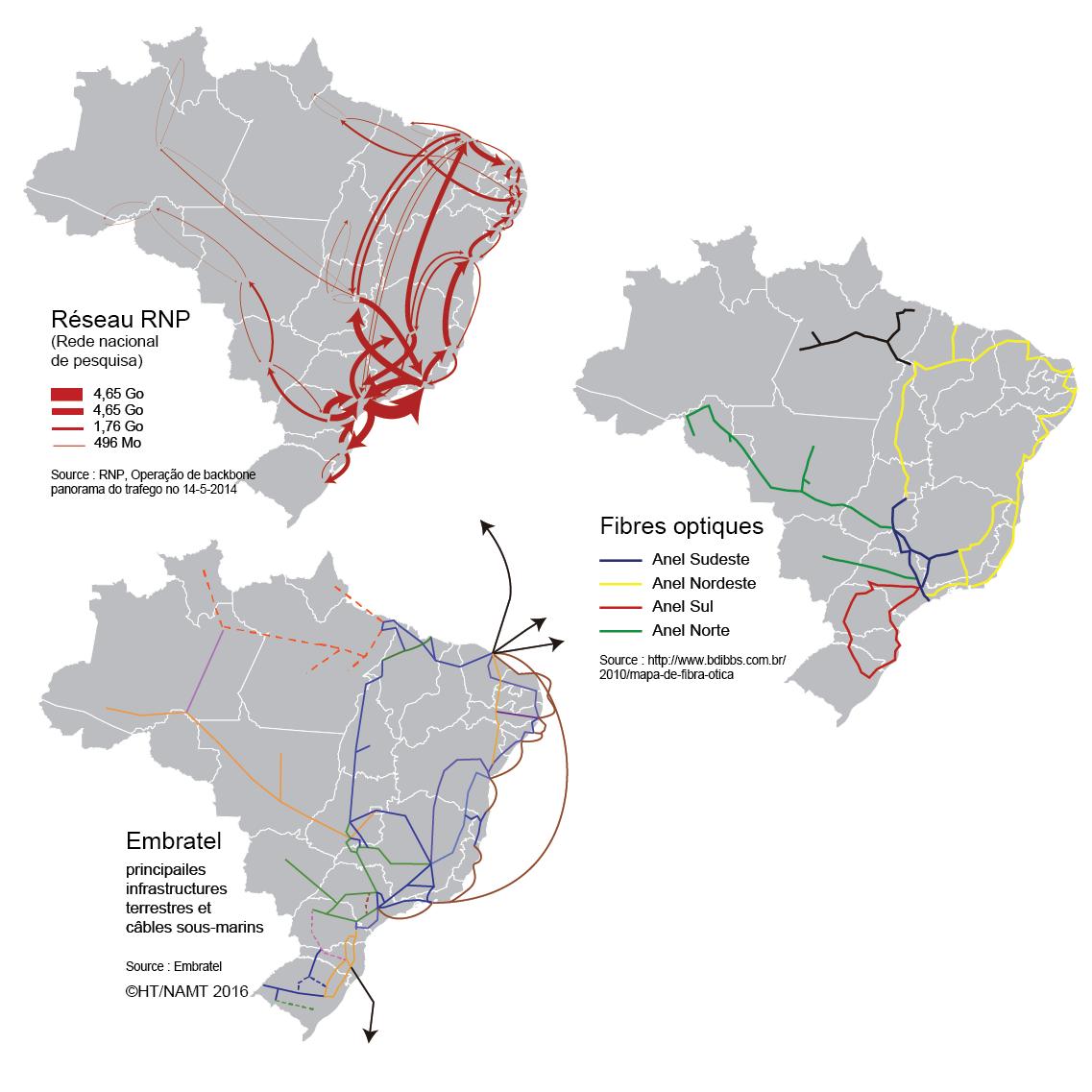 carte des réseaux de télécommunications et fibre optique au Brésil