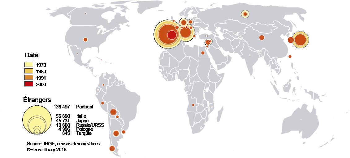 planisphère origine des migrants à Sao Paulo 1970 2000 XXe siècle 20e siècle