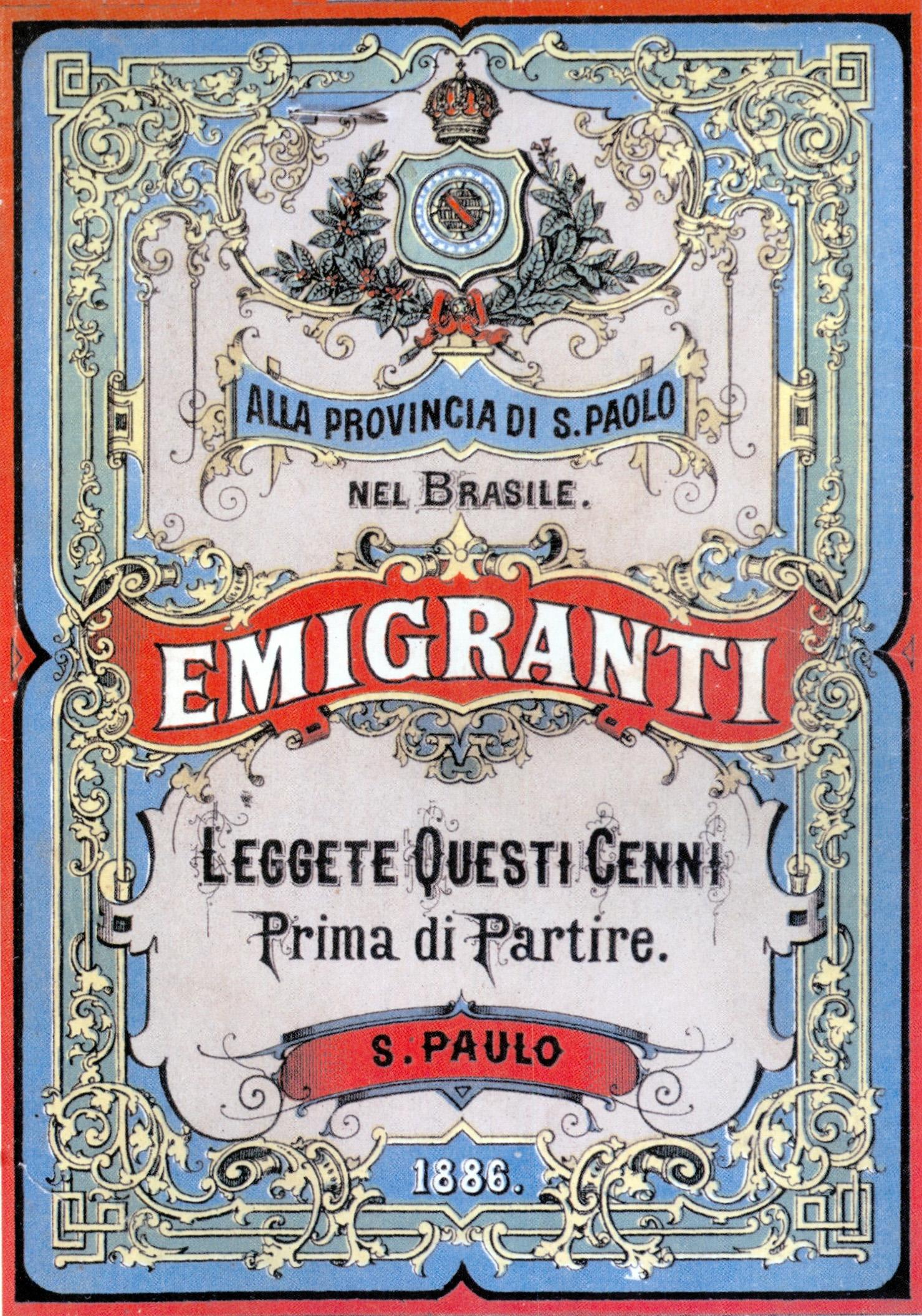couverture manuel pour immigrants italiens au Brésil migrations