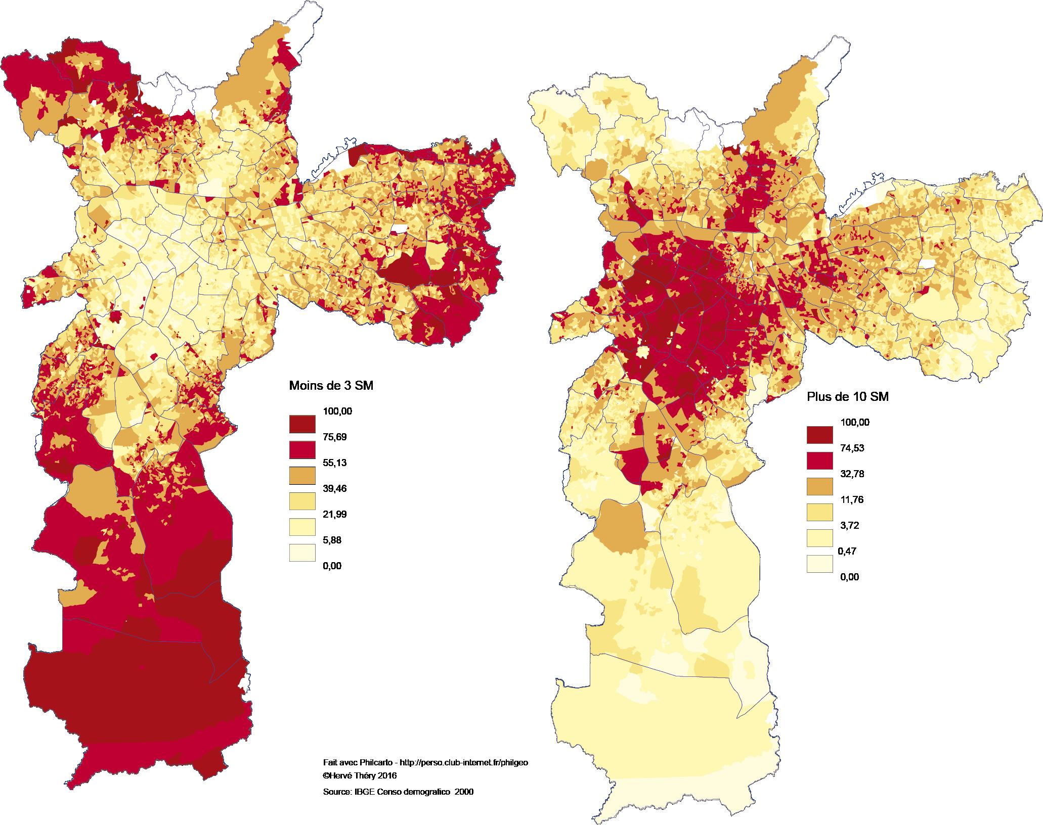 carte inégalités de richesses à Sao Paulo