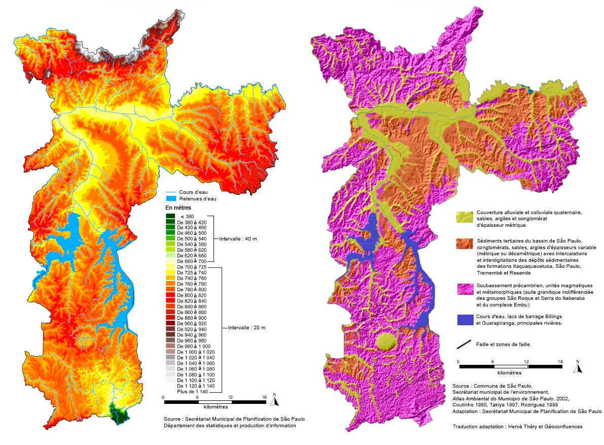 carte géologie et altitude Sao Paulo