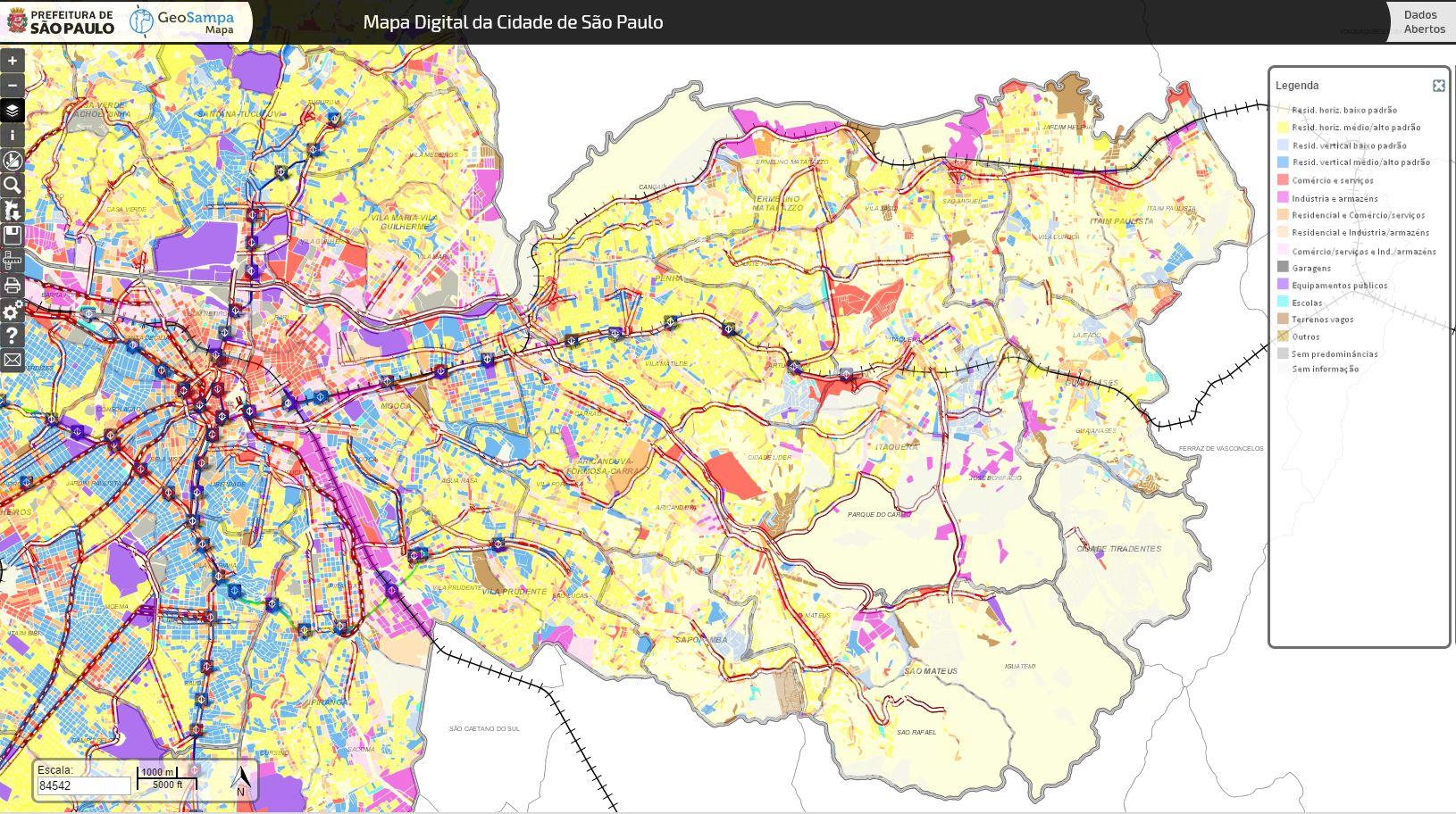 carte usage du sol à Sao Paulo Brésil