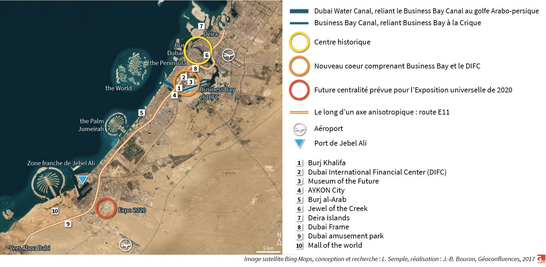 Carte grands projets canaux Burj Khalifa Dubai