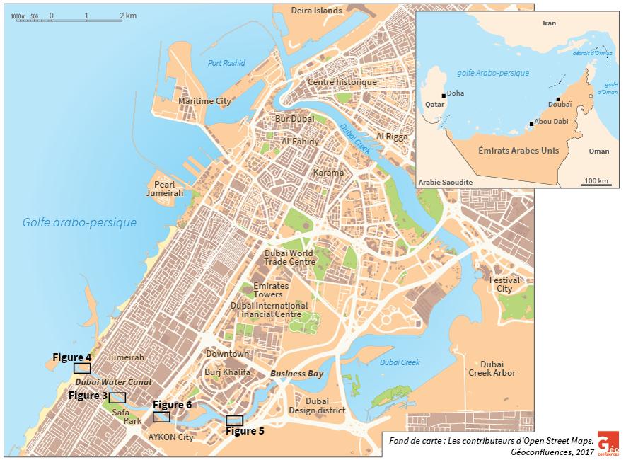 Doubai, Dubai, dans son environnement régional carte