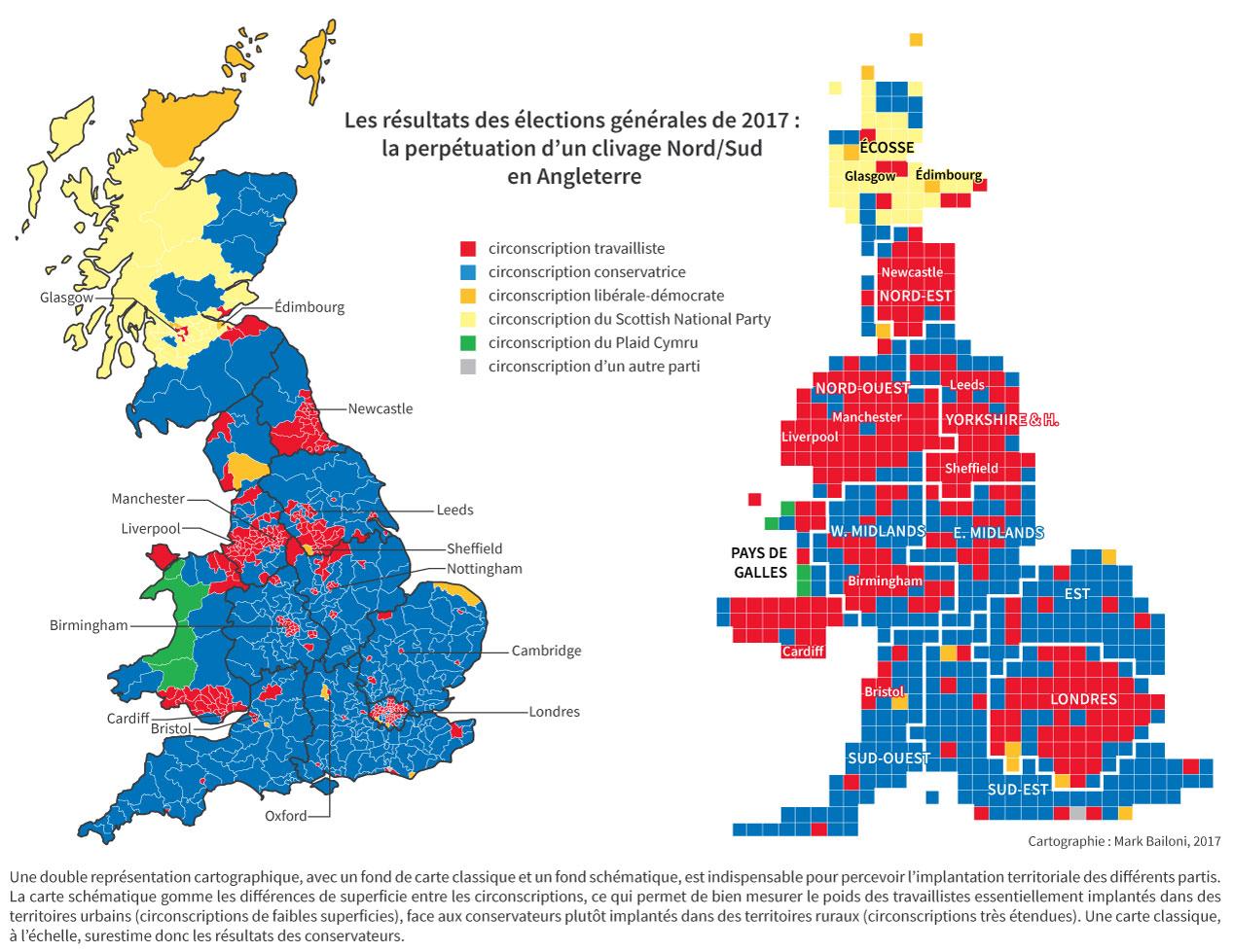 résultats des élections générales : clivage Nord/Sud
