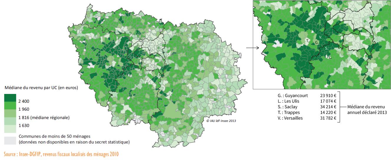 Carte du revenu médian en Île-de-France et zoom sur le Sud-Ouest