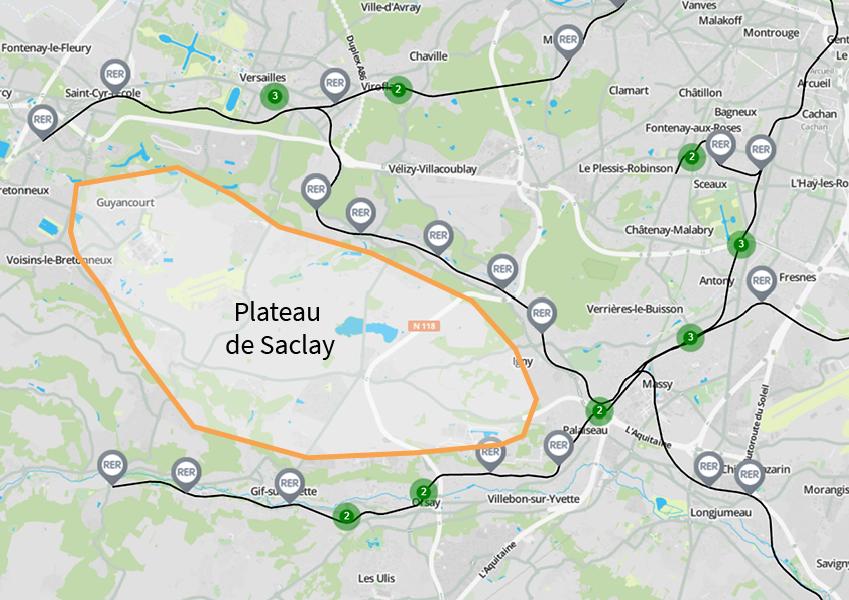 Carte RER Saclay