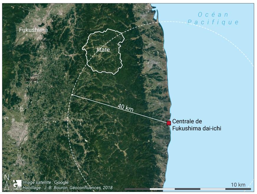 Carte terrain et localisation Iitate et centrale Fukushima Japon