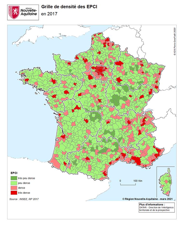 EPCI selon la grille de densité France carte intercommunalités
