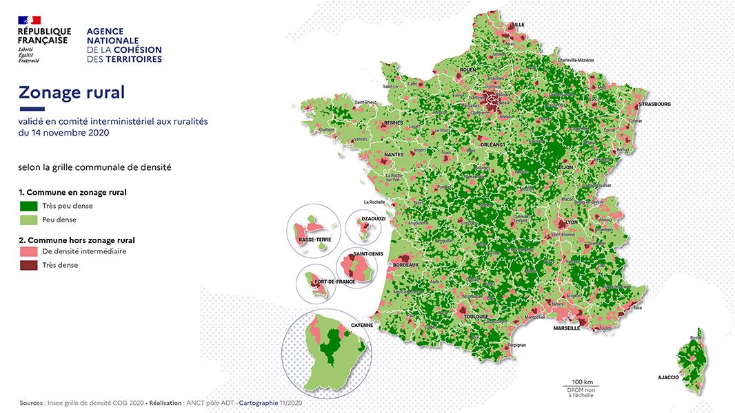 ANCT zonage rural par densité