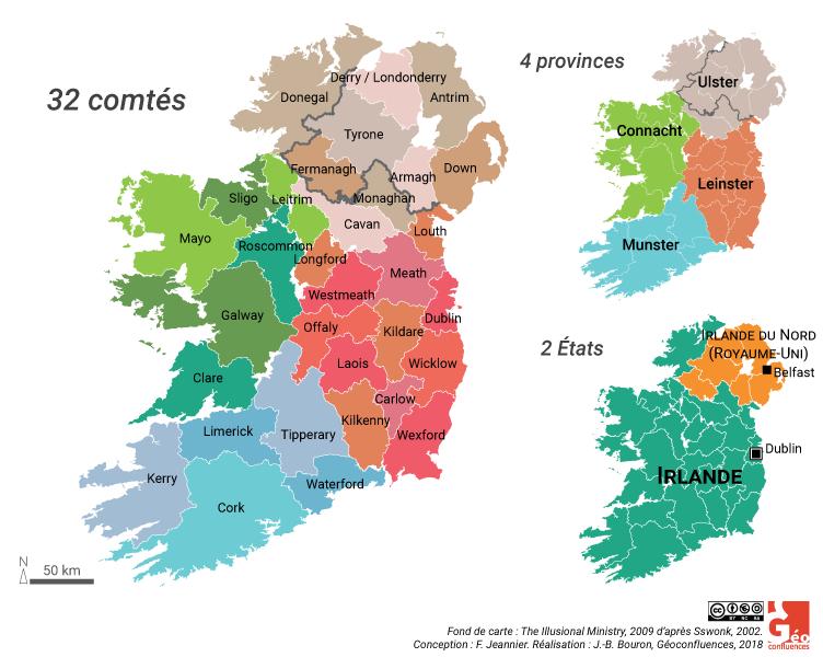 carte comtés province Irlande