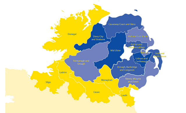 Map Of Northern Ireland With Counties.Brexit And The Challenges Of The Irish Border Geoconfluences
