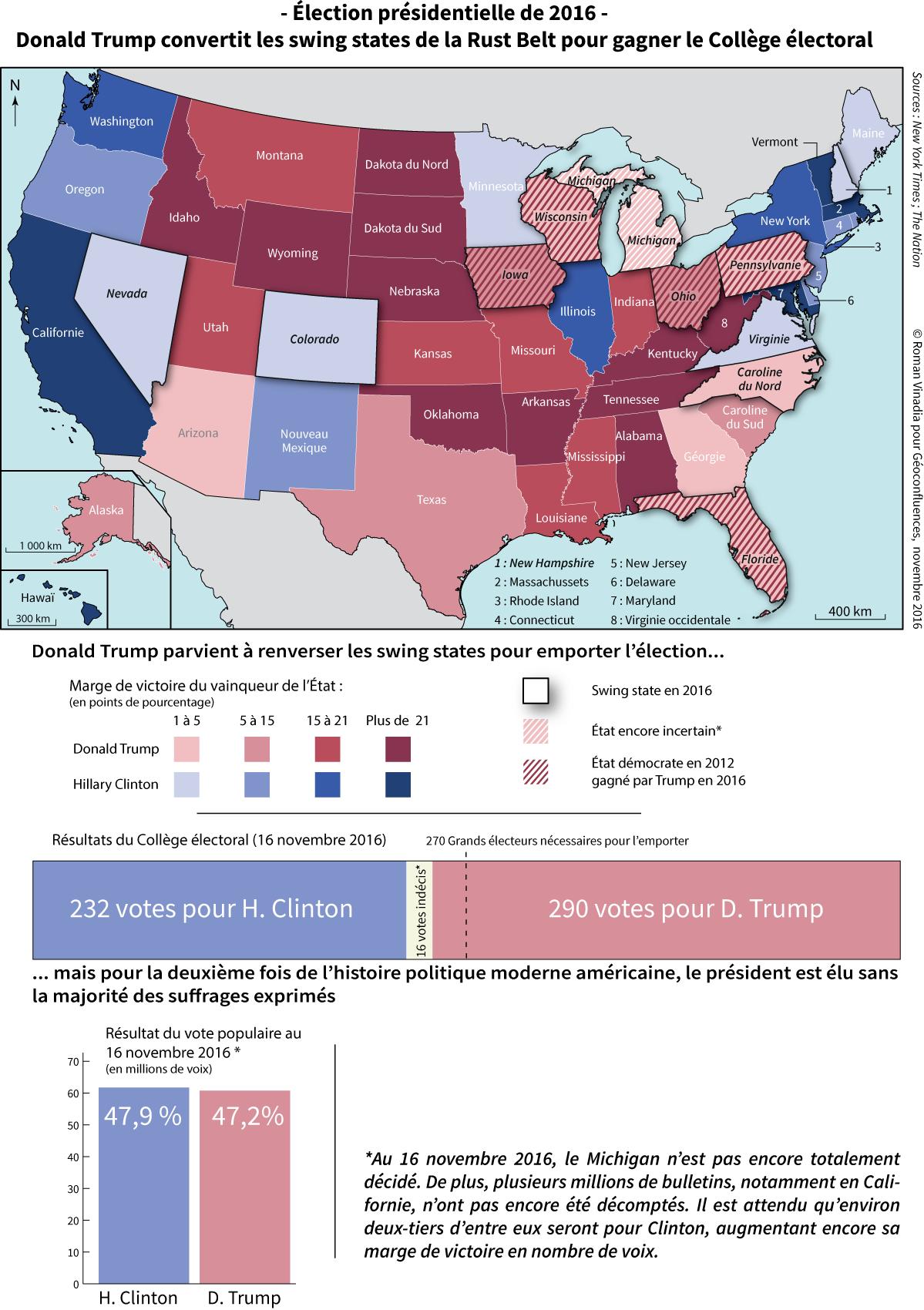 Carte élections américaines 2016 résultats