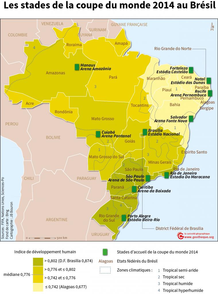 Carte des stades coupe du monde 2014 Brésil