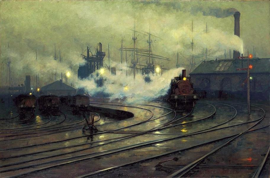 Les docks de Cardiff, Lionel Walden, 1894
