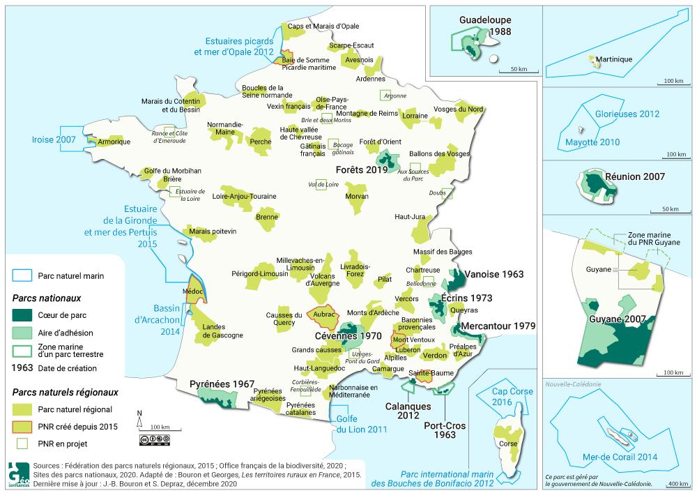 Carte parcs naturels nationaux et régionaux en France