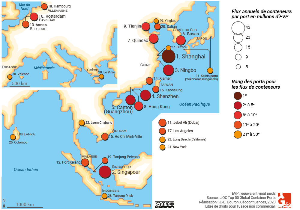Ports à conteneurs carte monde façade Chine 2020 2019