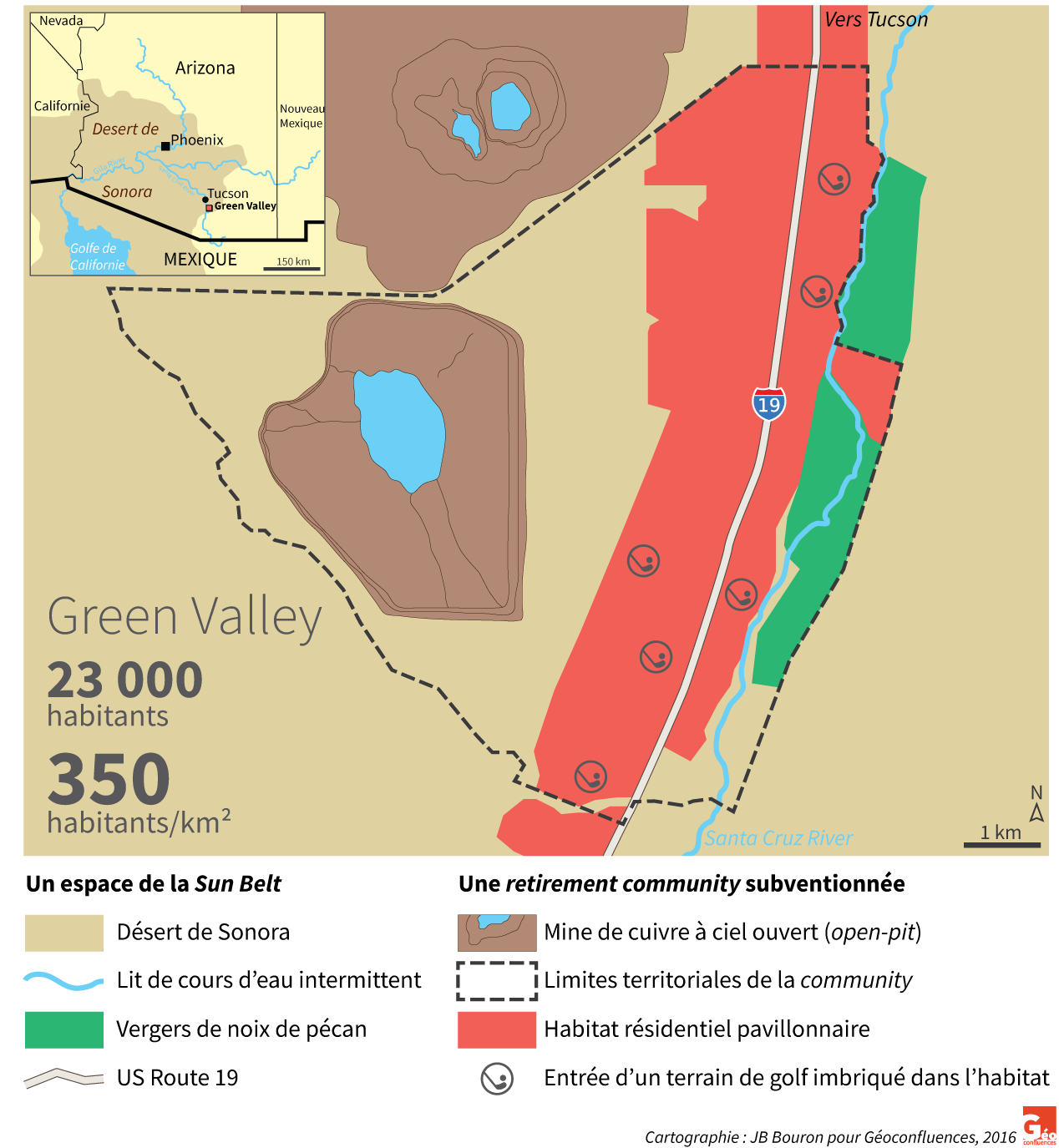 carte map Green valley Arizona Tucson desert de Sonora