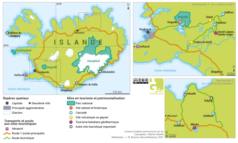 Carte islande tourisme géotermie cercle d'or cercle de diamant island map