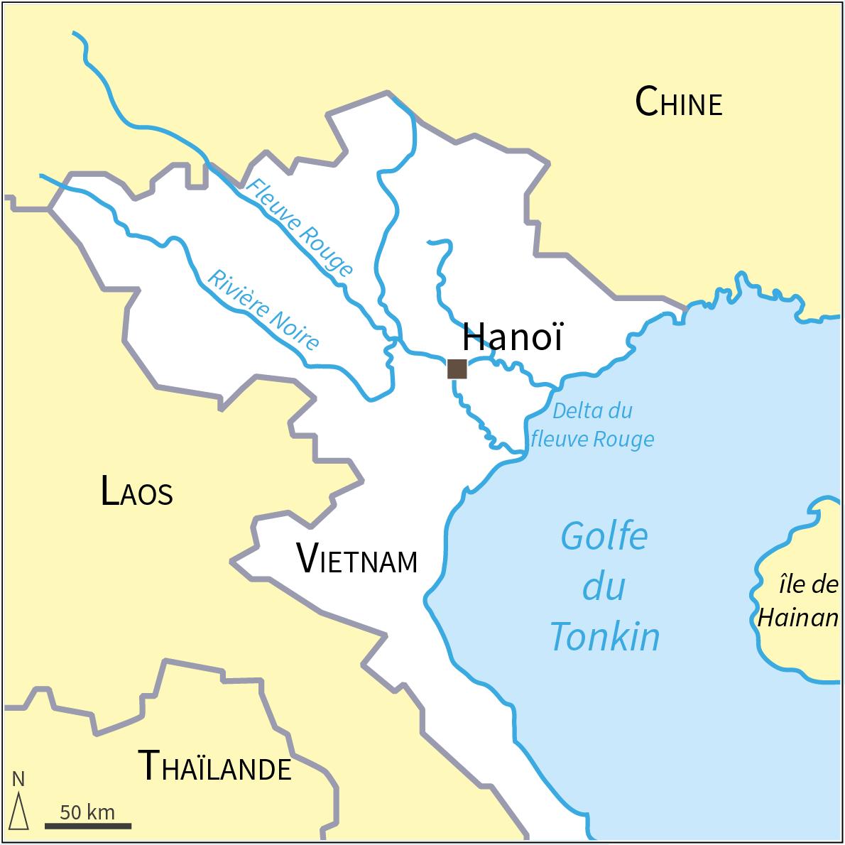 carte localisation Hanoï fleuve rouge
