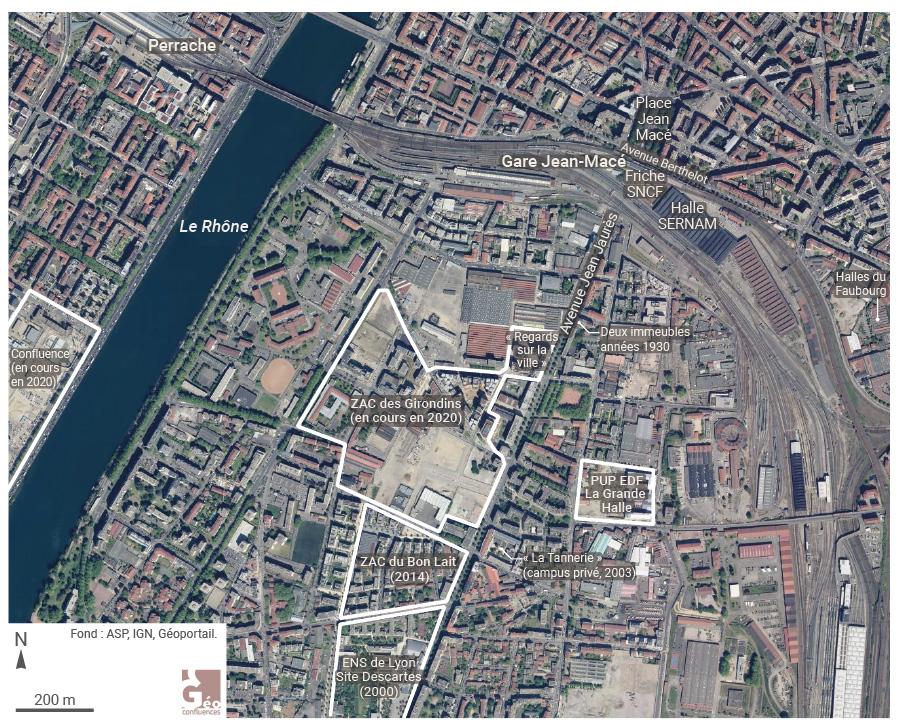 Carte Lyon 7e arrondissements projets urbain Jean Macé Gerland