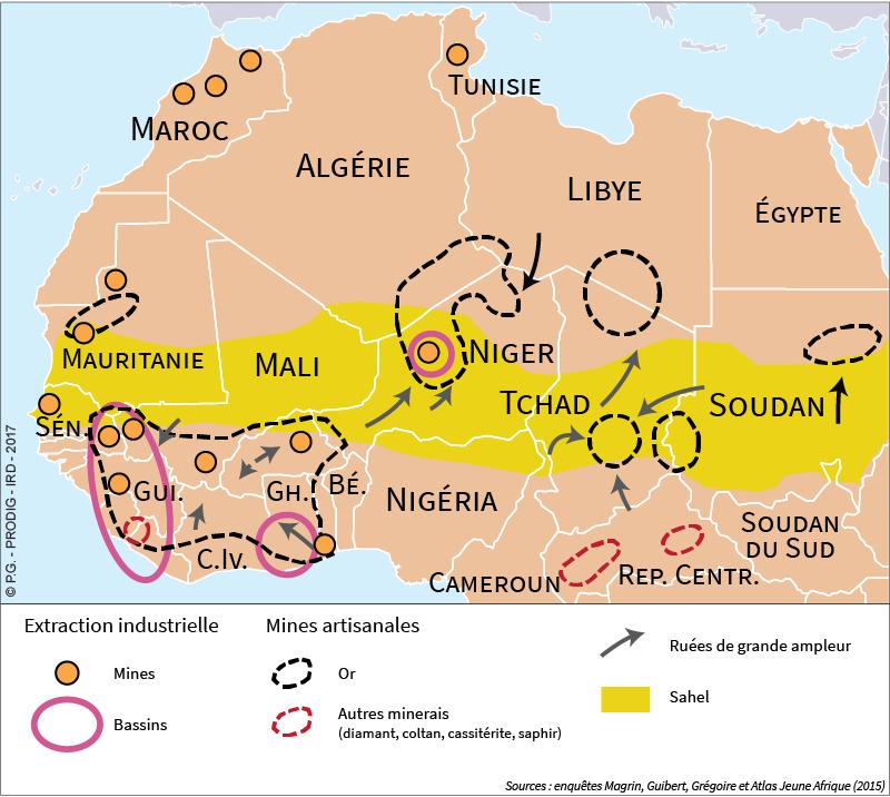 Géraud Magrin — Carte Afrique minière et rentière or diamants