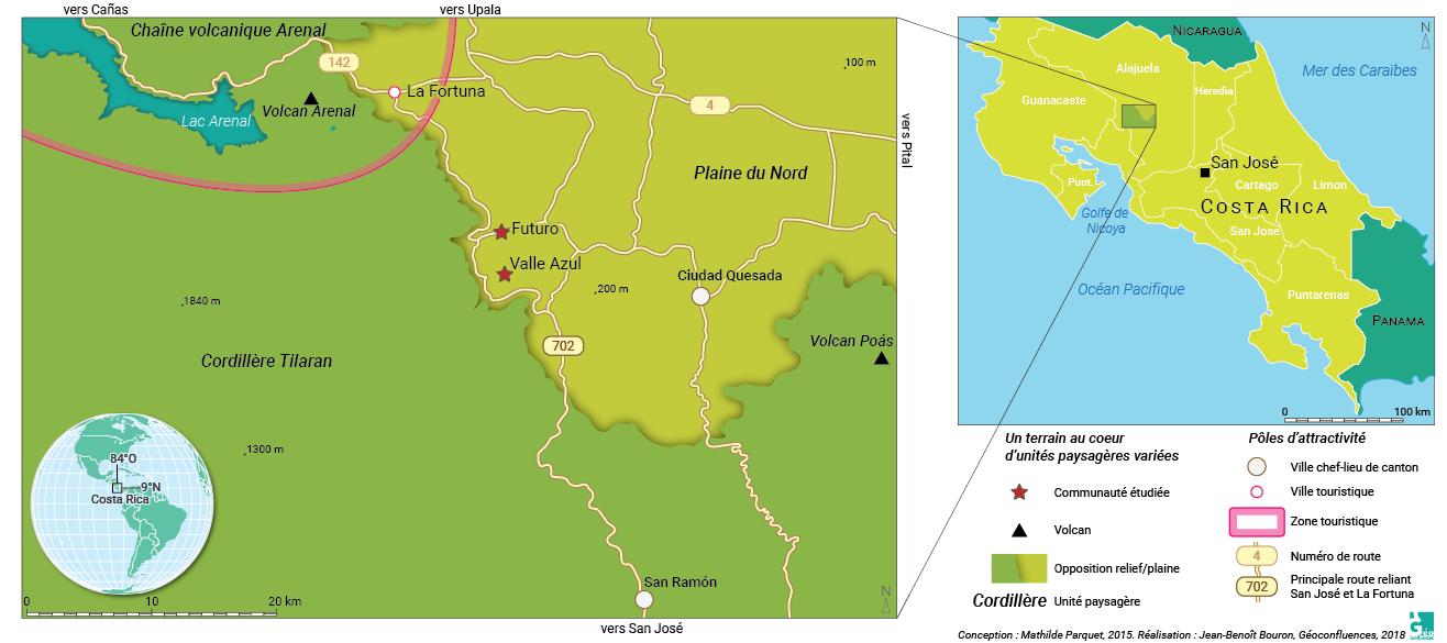 Carte de localisation des terrains de l'article