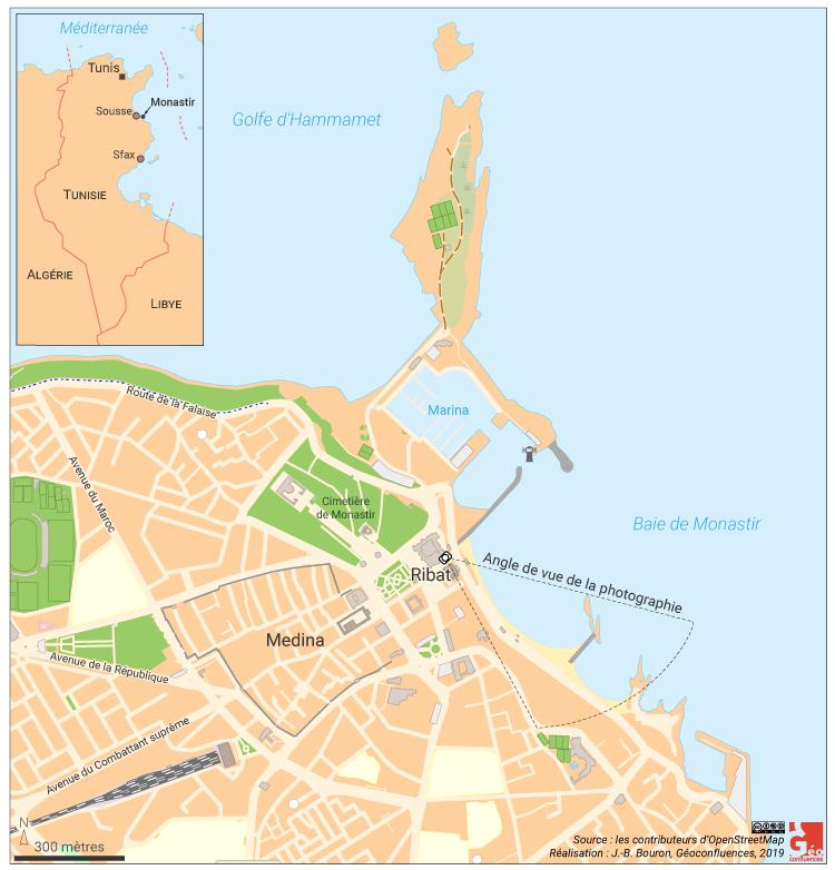 Monastir en Tunisie: carte de localisation