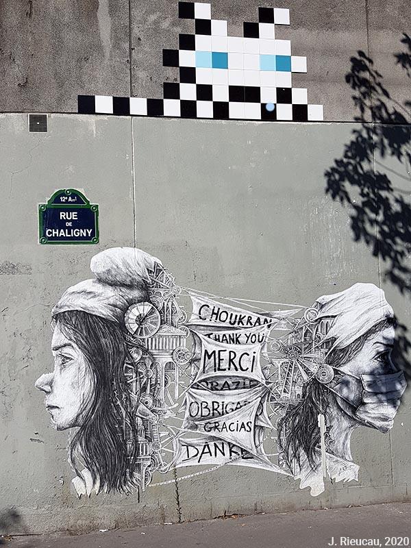 Jean Rieucau - Odonymie et art de rue / chaligny mariane merci masquée space invader