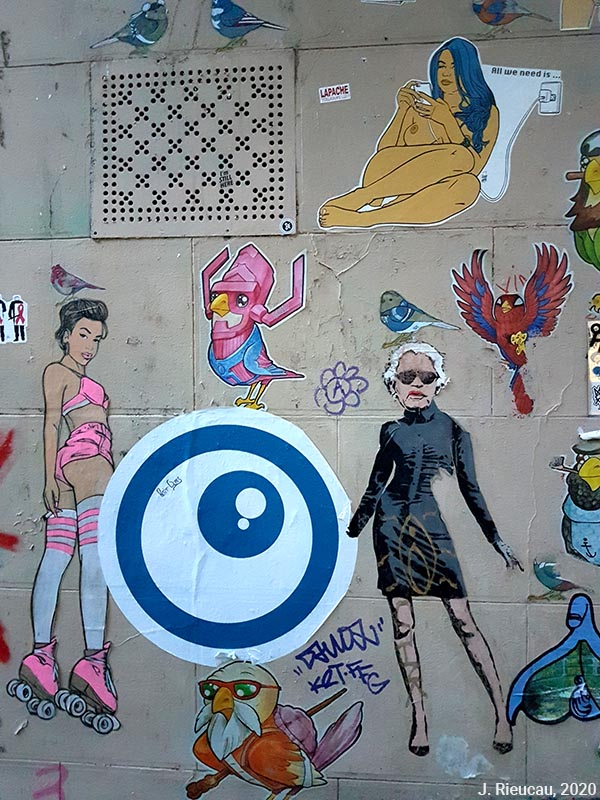 Jean Rieucau - Odonymie et art de rue / Montmartre profusion clitoris Karl Lagerfield