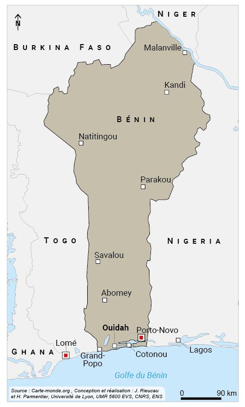 Jean Rieucau — Carte des villes au Bénin