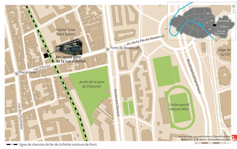 carte localisation gare d'Avron et petite ceinture ferroviaire