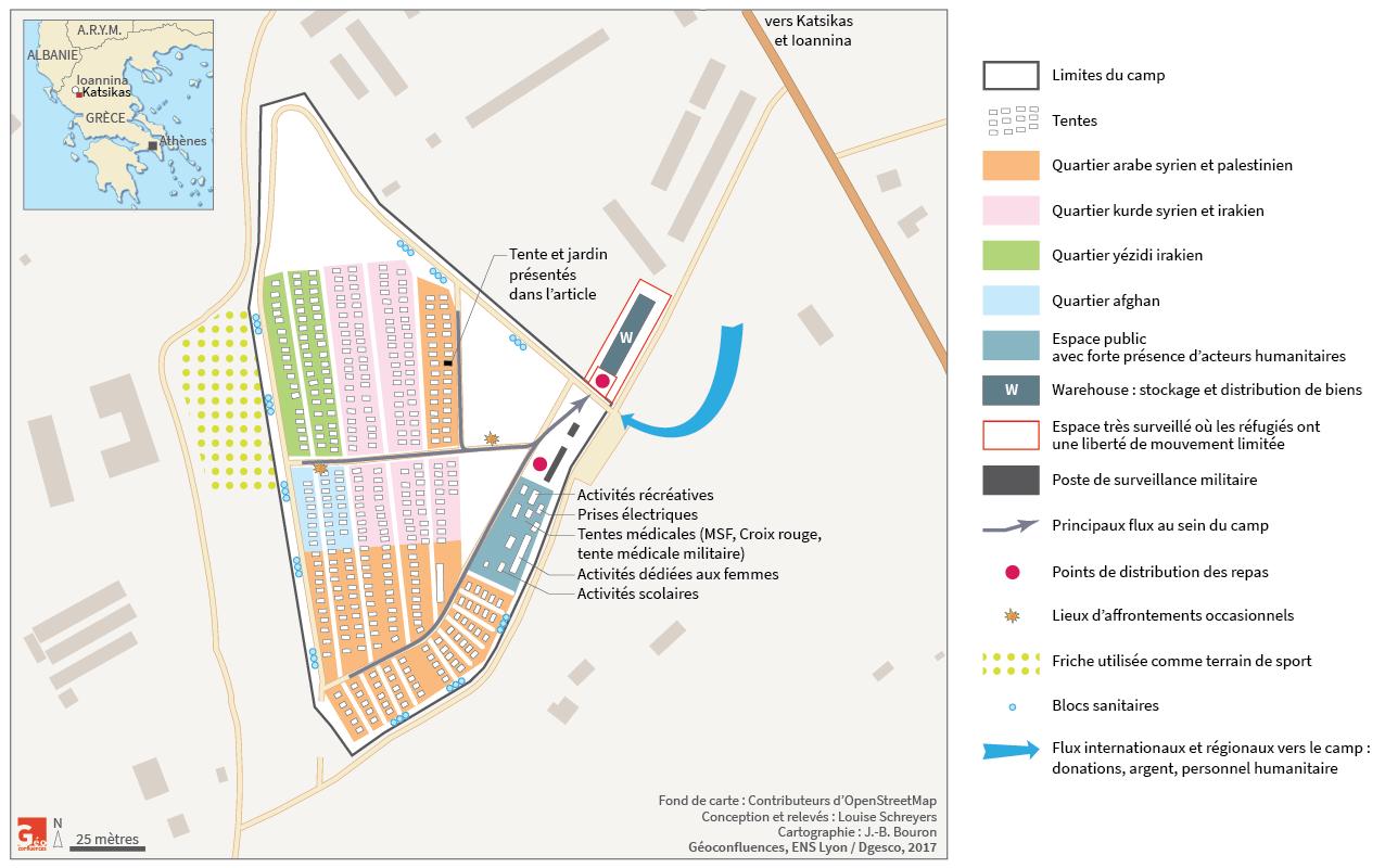 plan du camp de réfugié de Katsikas avec communautés